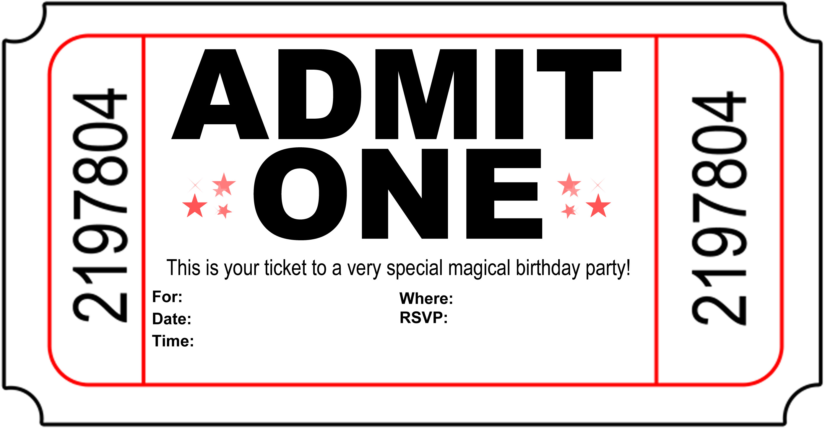 Free Printable Birthday Party Invitations Kansas Magician – Printable Ticket Invitations